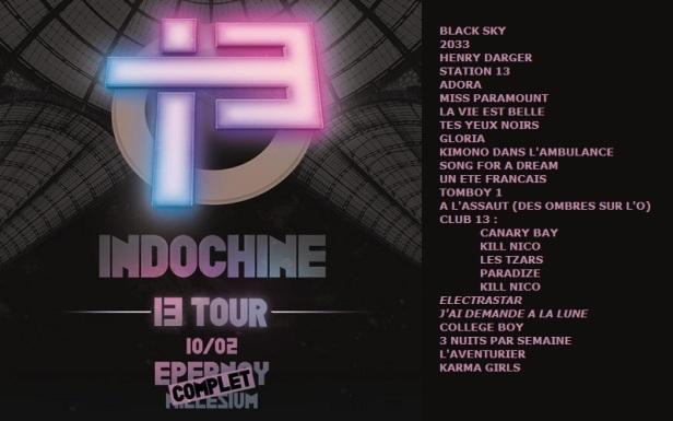 Setlist 13 Tour à Epernay (10 février 2018)