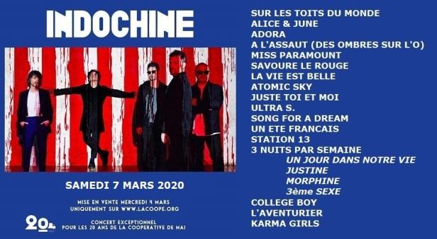 Setlist Coop de Mai (7 mars 2020)