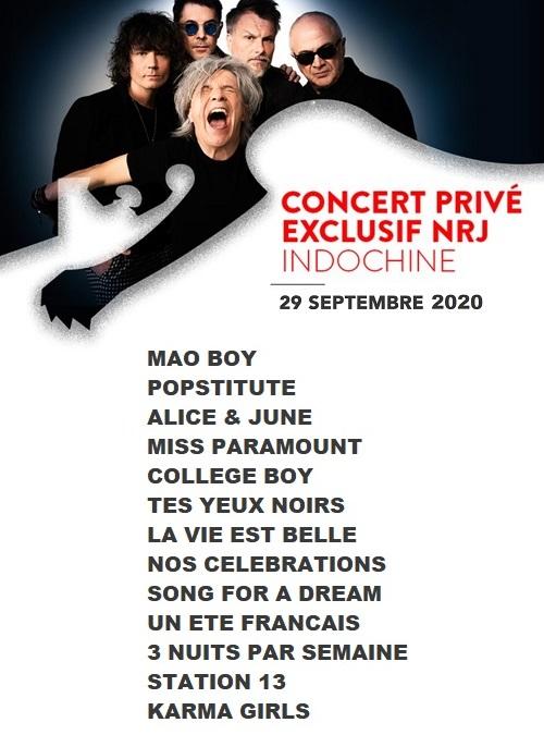 Setlist Concert NRJ - (29 septembre 2020)